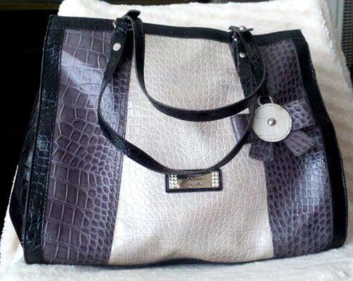 3f65a4985cf GUESS-Est-1981-Vintage-Handbag-Purse-Tote-GRAY-Crocodile-Python-Snake-print