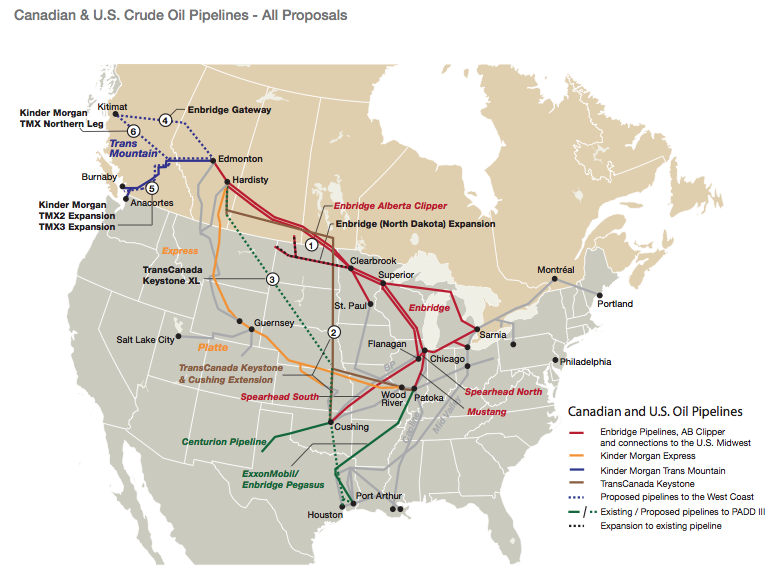 GOOD MAP of Canada US Oil Pipelines canadauspipelinemappng