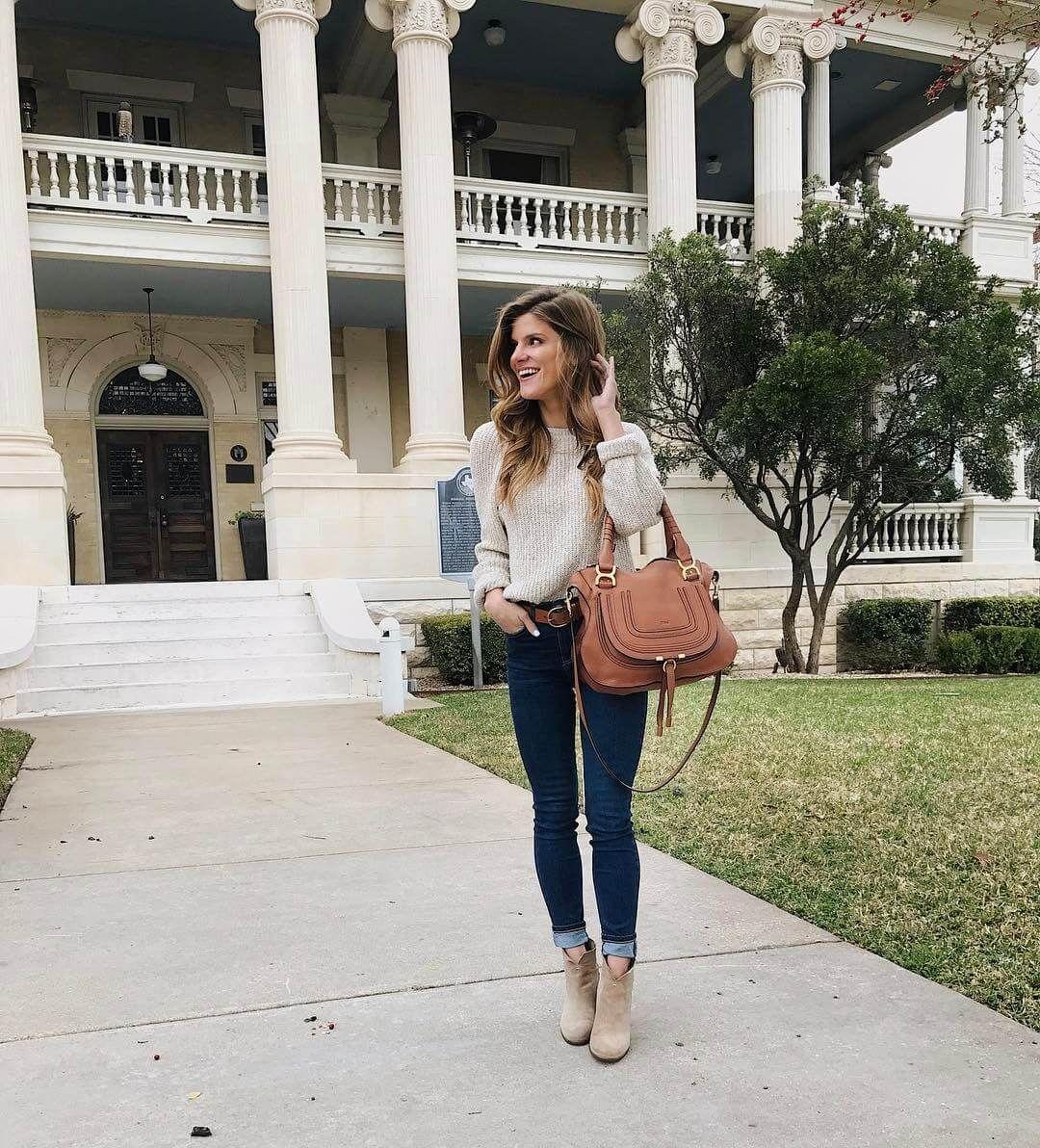 6a860630243 Natural sweater+skinny jeasn+beige ankle boots+cognac shoulder bag+cognac  belt. Spring Casual Outfit 2017