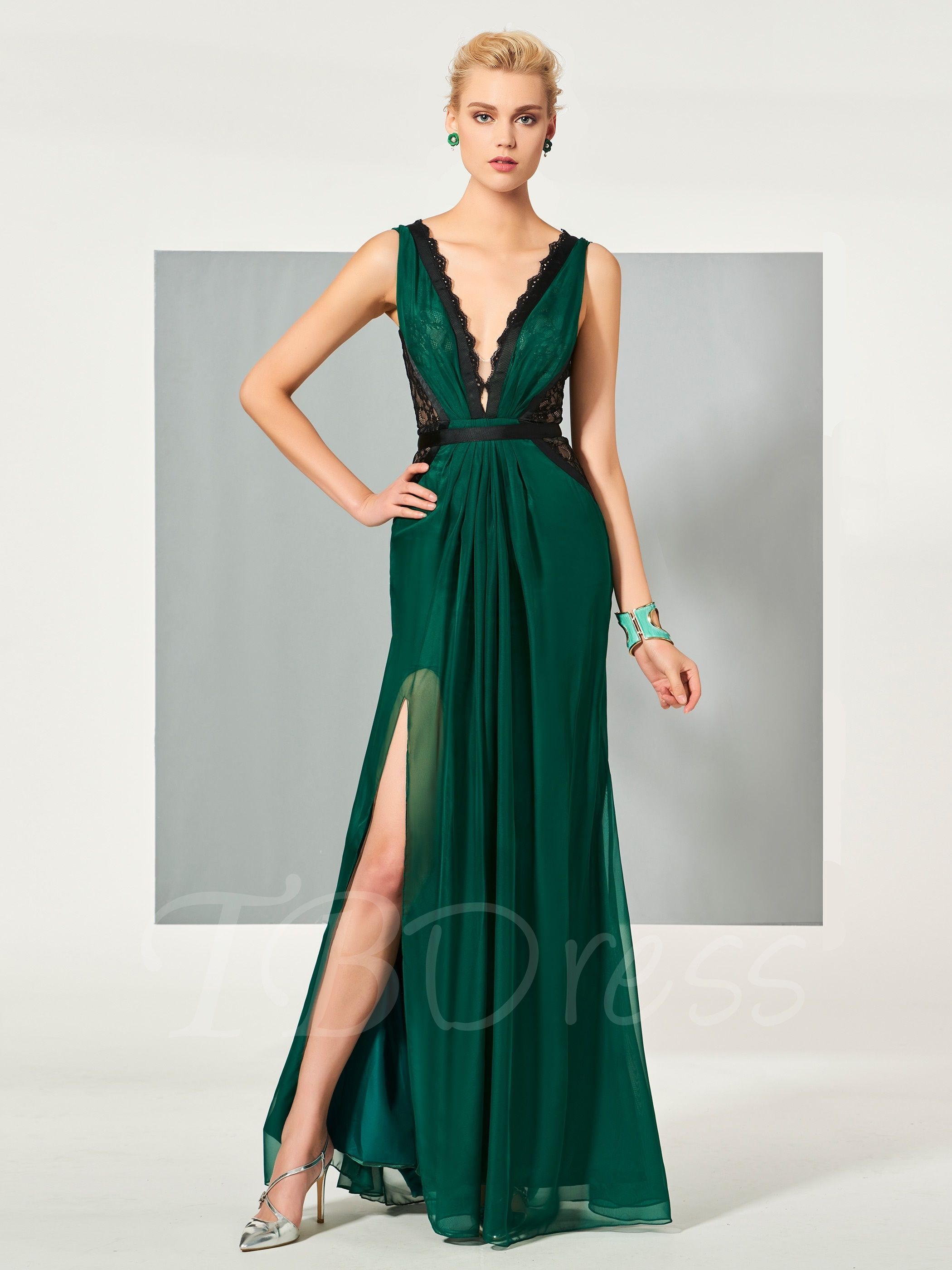 Vneck lace ruched splitfront evening dress pinterest designer
