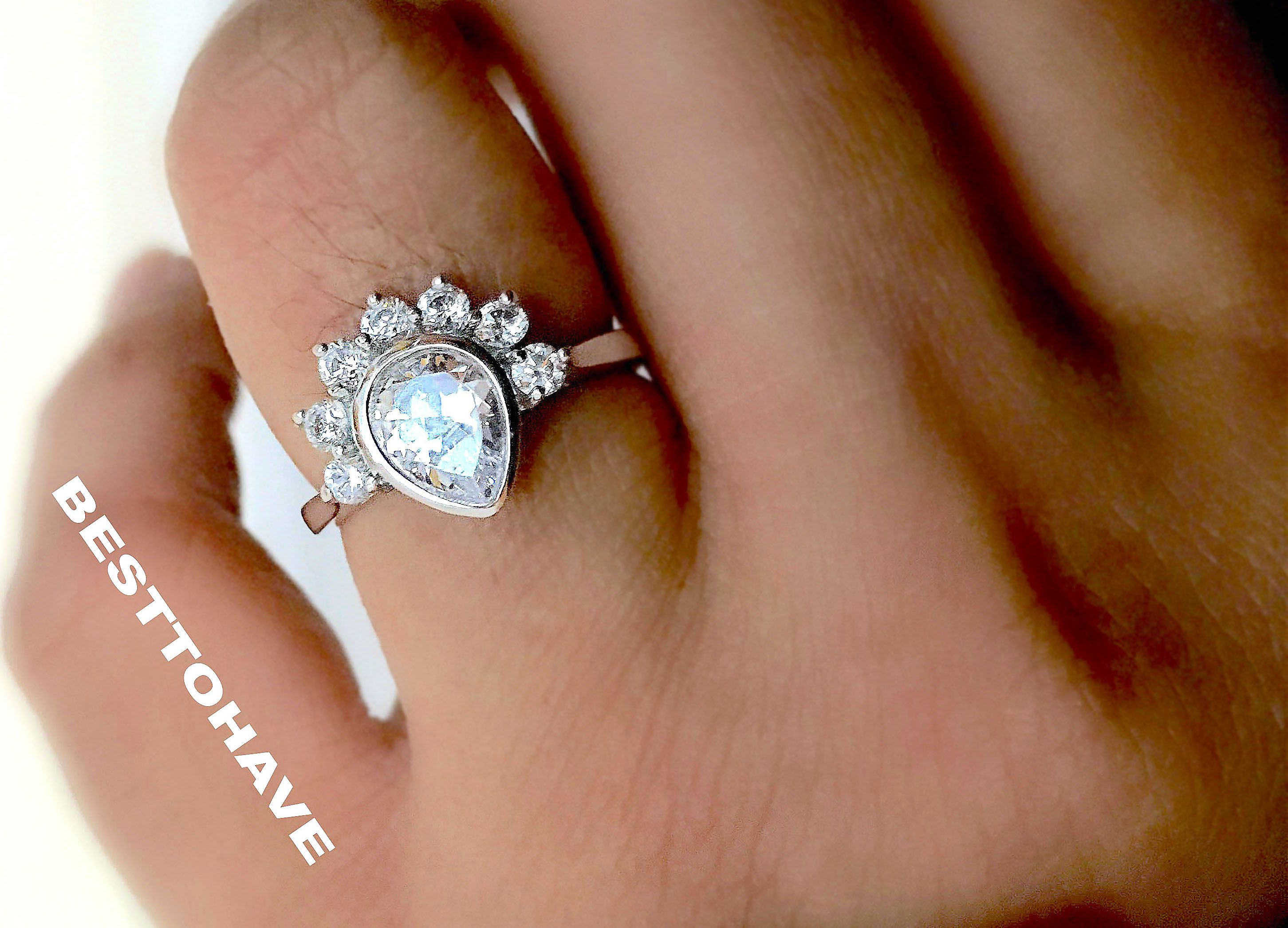 925 Sterling Silver Art Deco Vintage Style Wedding Engagement
