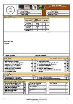 Progress Report Template  School