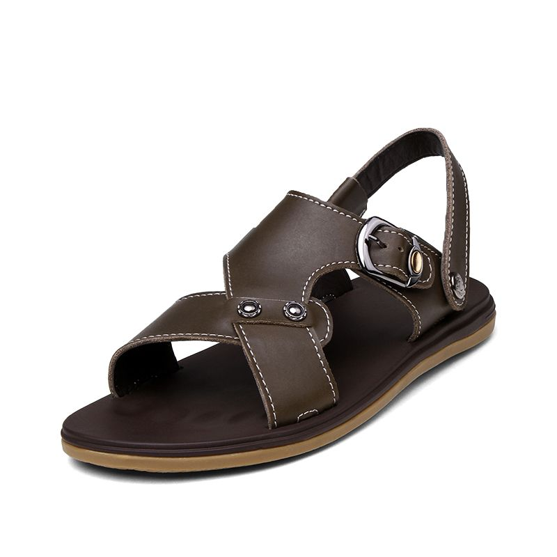 2ae063de0 Summer Sandals Man Leather Fashion Sand Beach Shoes Casual Plate Slides  Chinelo Masculino Dark Khaki Brown