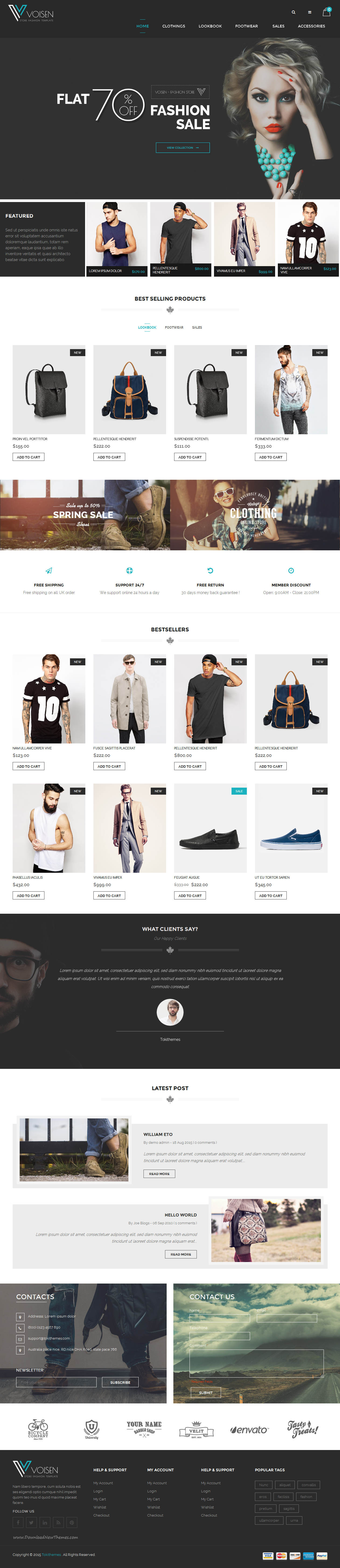 Voisen Responsive #Magento Fashion Template is designed for fashion, high-tech, electronics, mobiles, laptops stores.Great as a starting point for your custom projects. Voisen is looking good with blue color and 2 homepage layouts. Built using Bootstrap 3 framework and integrated with many magento extensions. #eCommerce #website #template
