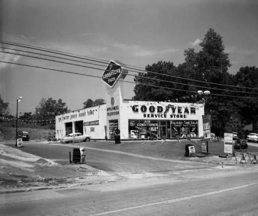 Goodyear Tire and Rubber Company; 6258 Roswell Road; Sandy Springs; For Pope and Carter Company, 1961. N14-084_01, Tracy O'Neal Photographic Collection, 1923-1975, Photographic Collection. Special Collections and Archives, Georgia State University.