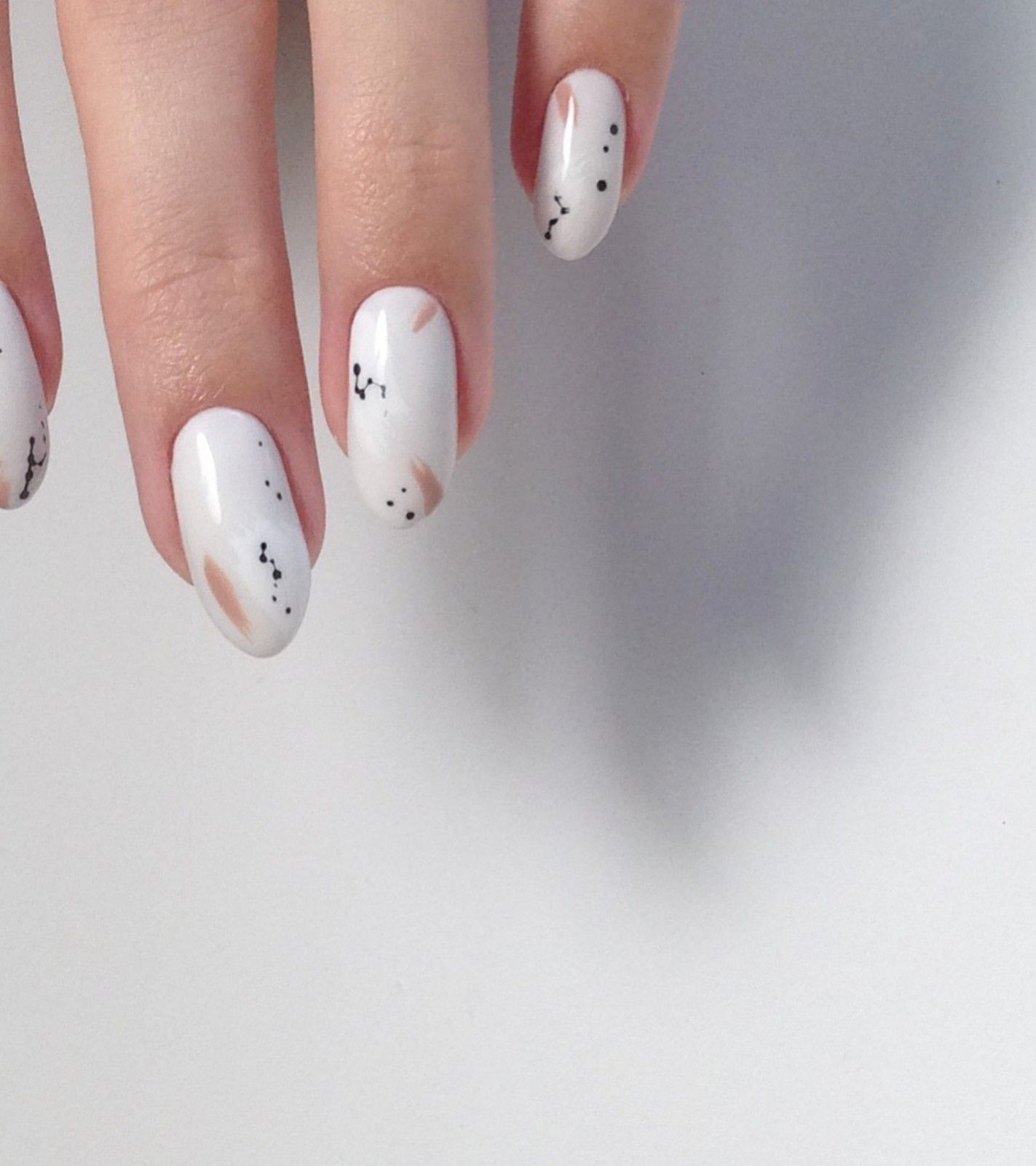 Milky White Nail Color White Nails With Minimal Abstract Design