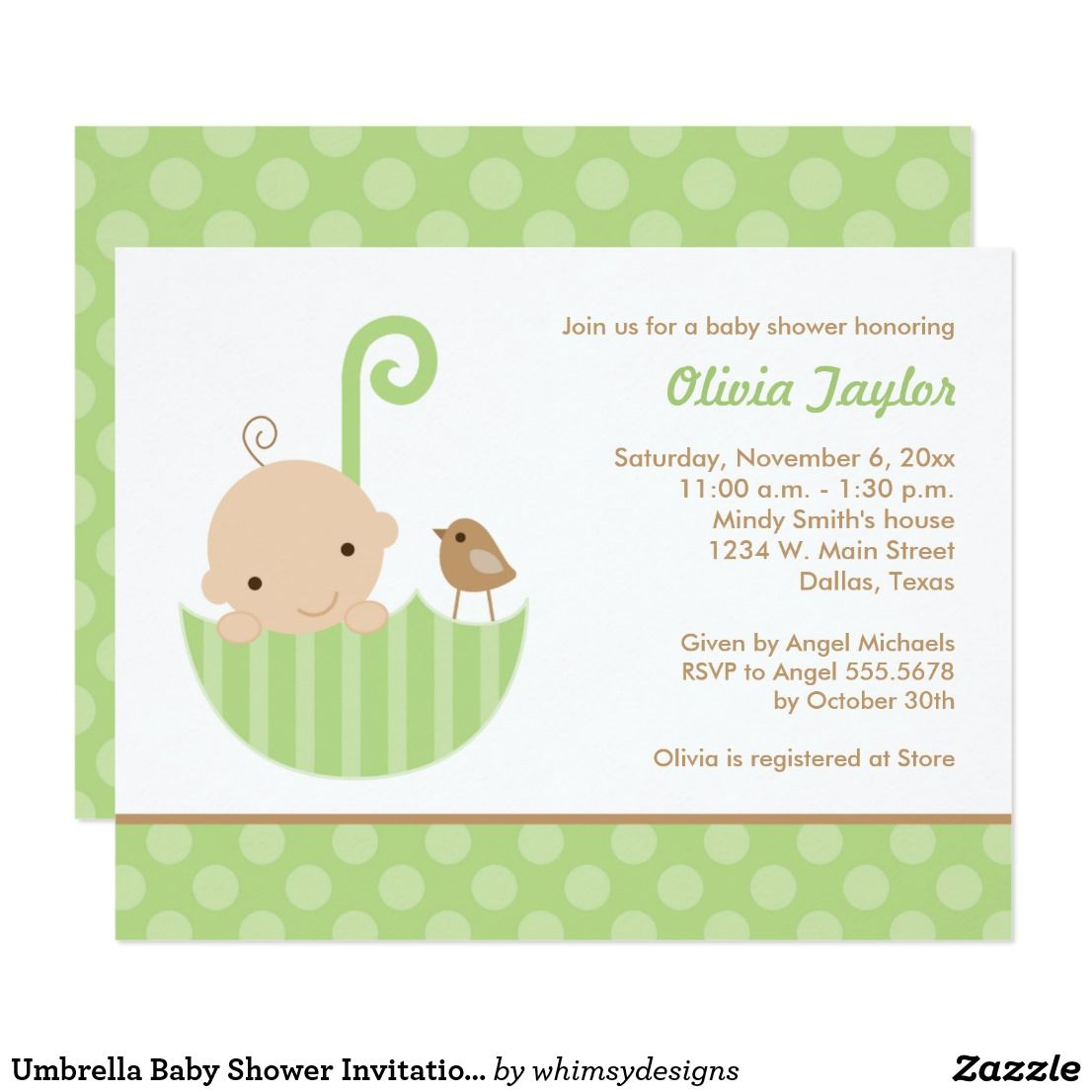 Umbrella Baby Shower Invitations in Green | Umbrella baby shower and ...