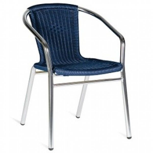 Blue Outdoor Stacking Arm Chairs   Cafe Bistro Outdoor Furniture.