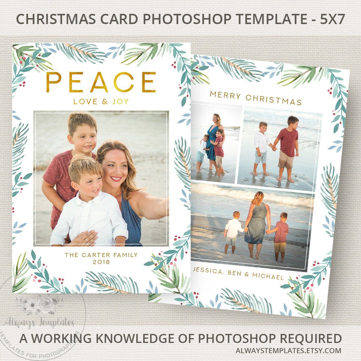 Photo Christmas Card Template Photoshop PSD Holiday 5x7 By