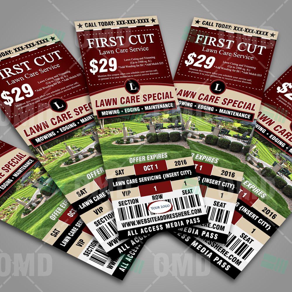 Lawn Care Ticket Style Promo Design Template. #lawncaremarketing ...