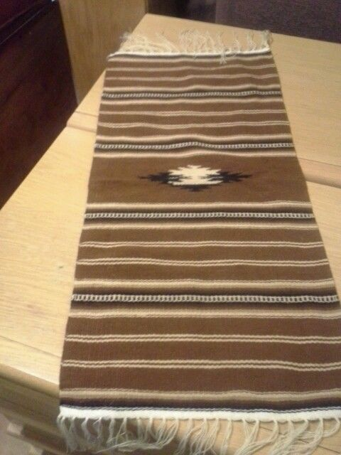 Vintage 70's Brown Acrylic Runner from Mexico