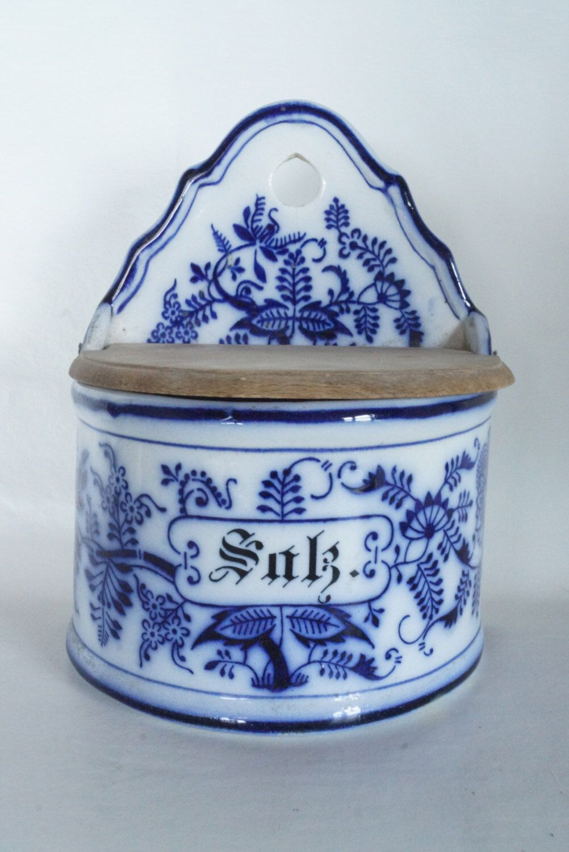 Antique GERMAN Salz Hanging Lidded SALT Box Cellar Blue Flow Pottery Lidded & Antique GERMAN Salz Hanging Lidded SALT Box Cellar Blue Flow Pottery ...