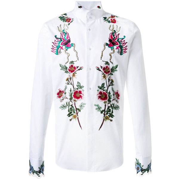 53a90a1e4497 Gucci - embroidered duke shirt - men - Cotton - 14 ($2,545) ❤ liked on  Polyvore featuring men's fashion, men's clothing, men's shirts and men's  casual ...