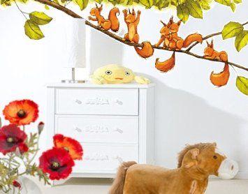 Luxury Wandtattoo mehrfarbig No Eichh rnchen jubeln xcm Wand Sticker Kinderzimmer Tiere Wald