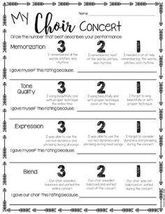 Music Performance Self Evaluation Worksheets Choir  Choir