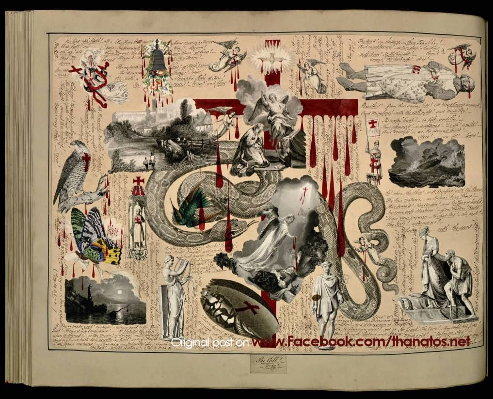 The absolutely incredible Durenstein / Victorian Blood Book, a decoupage scrapbook compiled in the 1850s, and now property of the Harry Ransom Center, University of Texas at Austin. The entire book is scanned at the link below! It's a must-see! ☆ ☆ http://bit.ly/1iWXbGG