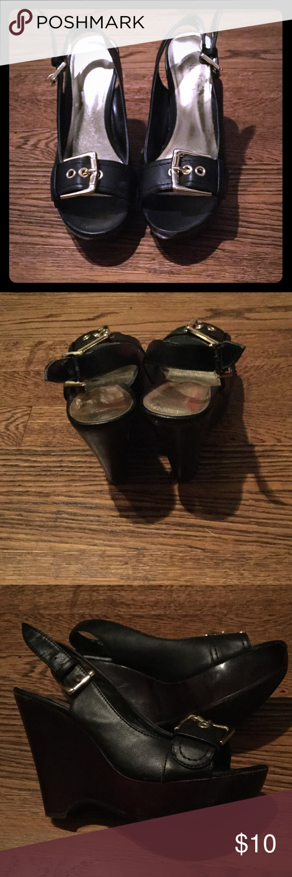 Nine West Wedges Black Wedges. Nine West. Has gold buckles. Some scuff in the front of the shoe. Make an offer. Nine West Shoes Wedges