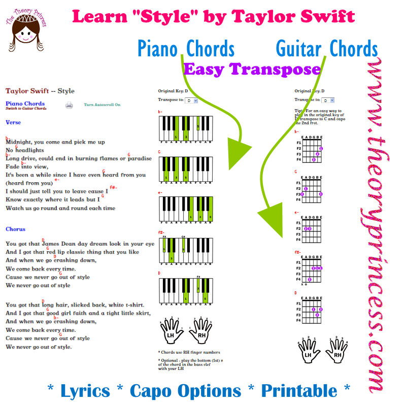 Learn Style By Taylor Swift On Guitar Or Piano With Lyrics Chords