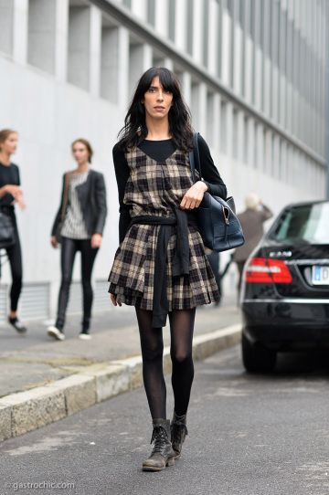 4318f30e314 Winter Outfit Idea - long sleeve shirt under a plaid mini dress worn with  ankle boots + tights