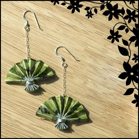 Green Origami Fan Earrings by ~ajesti on deviantART