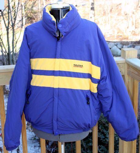 Vintage Nautica Competition Down Coat Puffer Hooded Winter