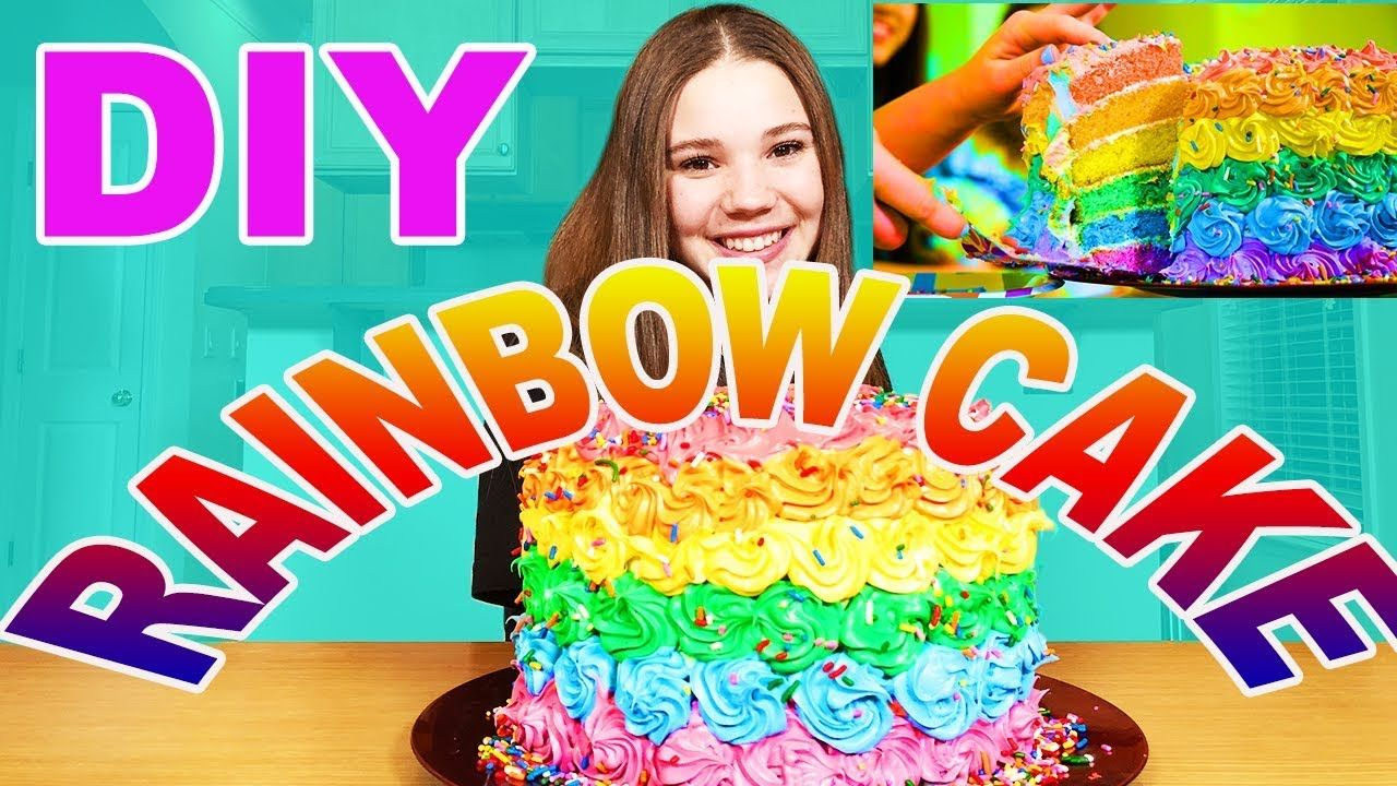 Astonishing Diy Rainbow Cake From Our Music Video Haschak Sisters Funny Birthday Cards Online Eattedamsfinfo