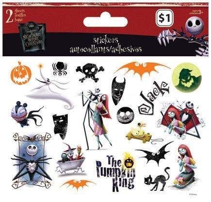 Nightmare Before Christmas Sticker 2 Sheets Jack Skellington