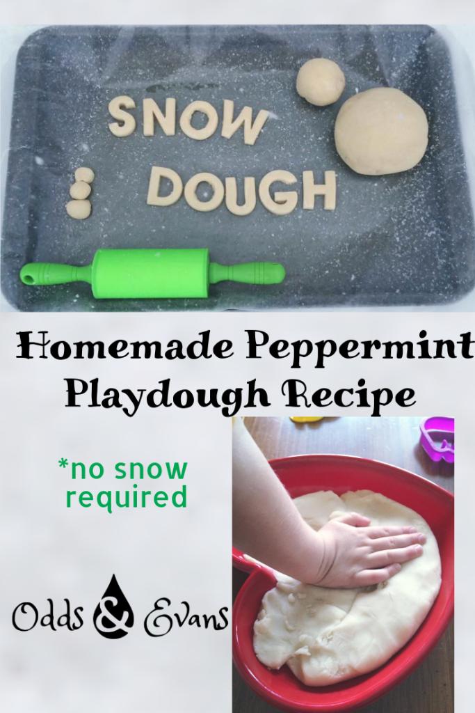 """""""Snow Dough"""" (Homemade Peppermint Playdough Recipe"""