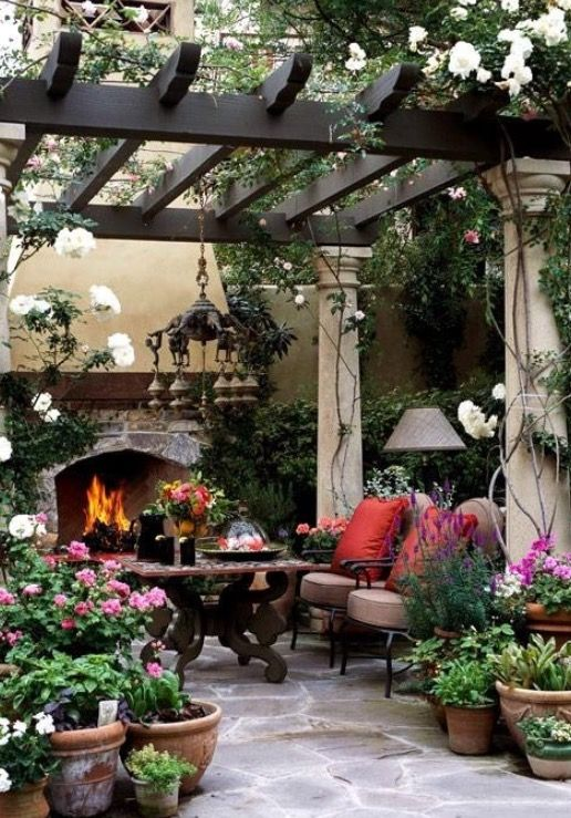 We Could Use A Chiminea Instead Of The Fireplace Just Add A Couple Of Comfy Chairs And Maybe Another Table And Voila A Beautiful Patios Patio Backyard Patio