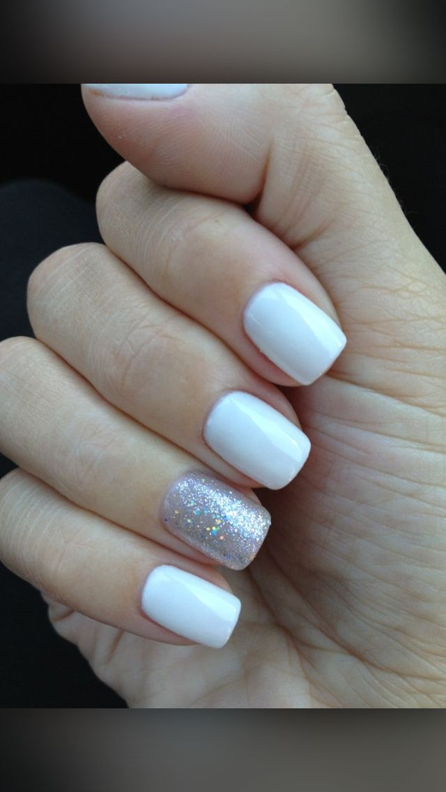 Elegant Prom Nails -White polish with accent ring finger with silver ...