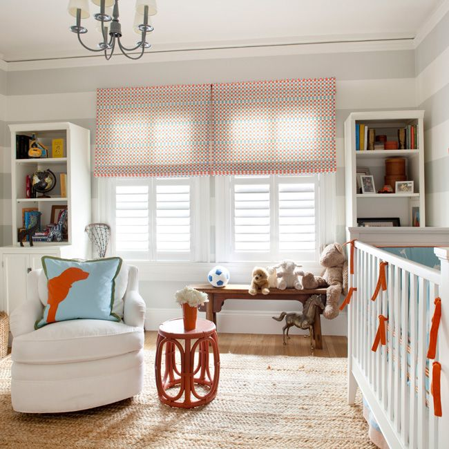 Adorable Nursery Design With White U0026 Gray Horizontal Striped Walls Red U0026  Blue Polka Dot Roman