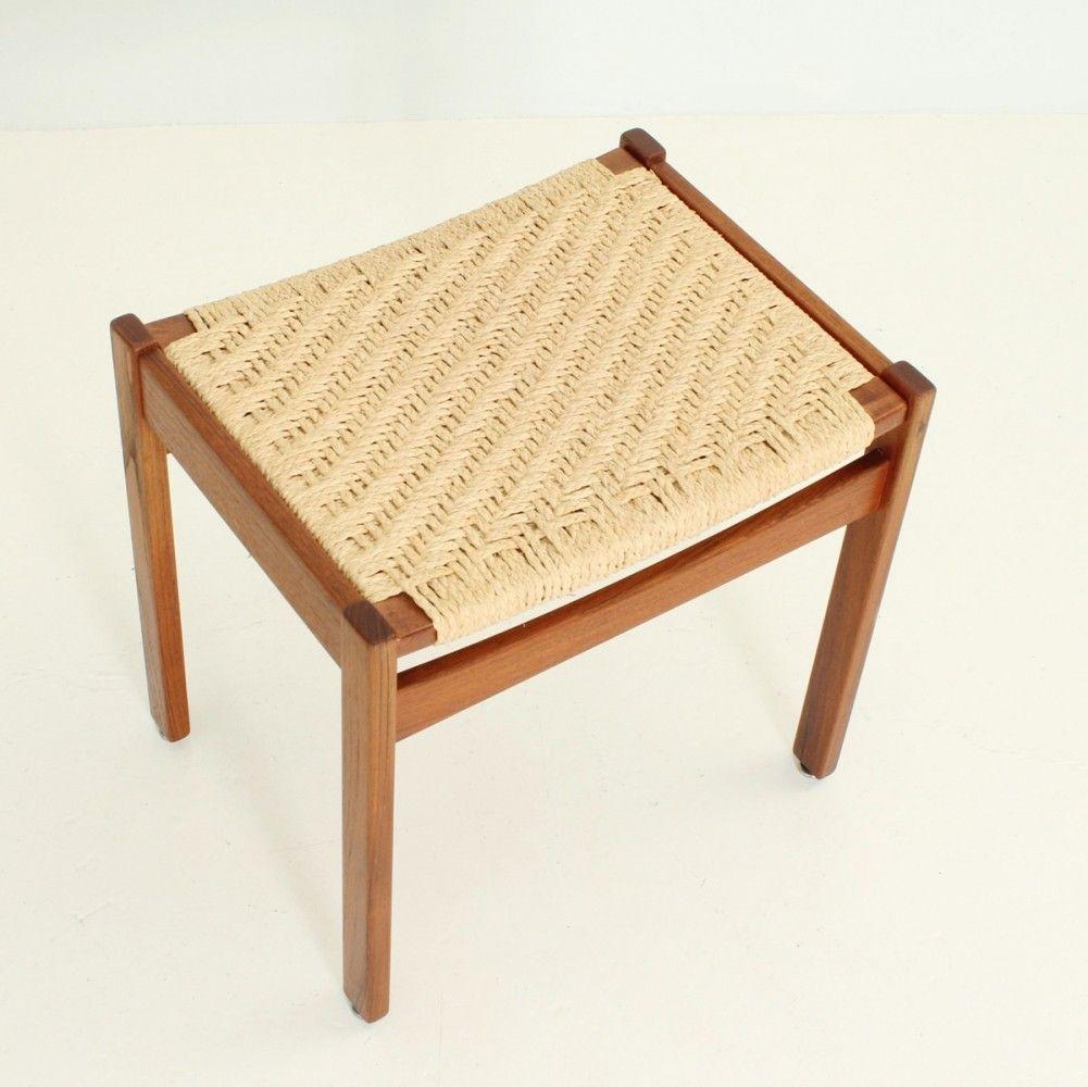 Danish Teak Paper Cord Stool Stool Design Reupholster Chair Dining Stool