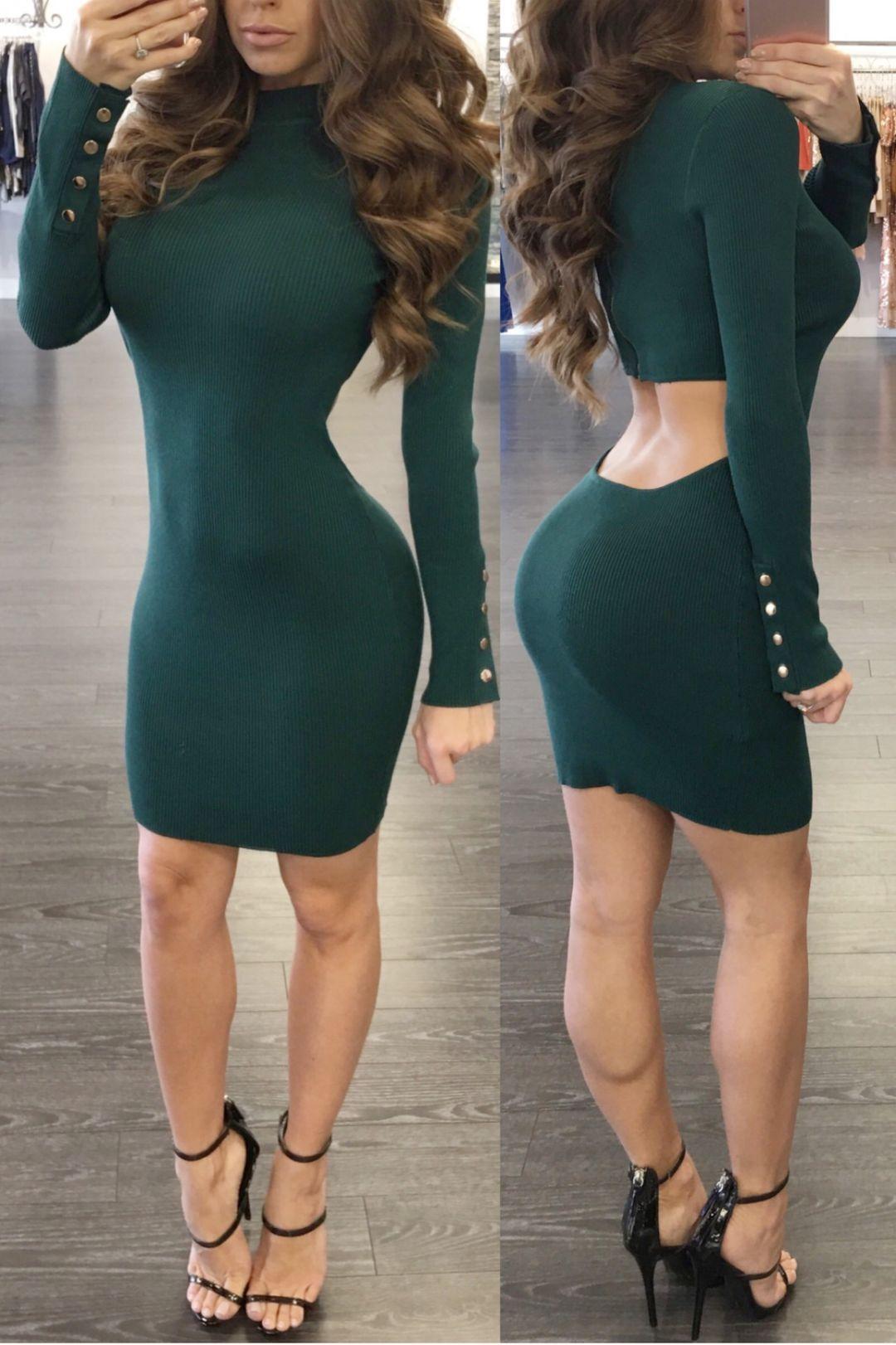 5a885e376e4 Hunter Green Open Back Sweater Dress