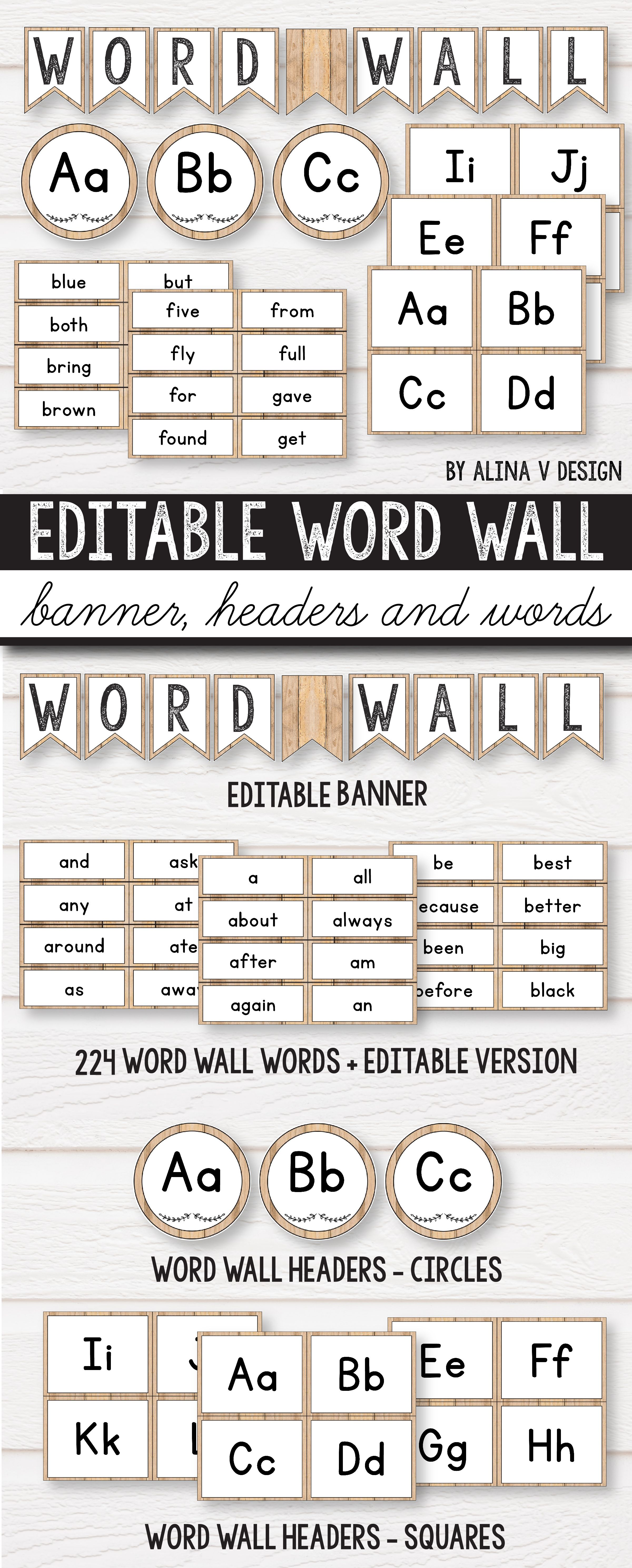 image about Word Wall Printable referred to as Editable Term Wall Letters Farmhouse Clroom Decor