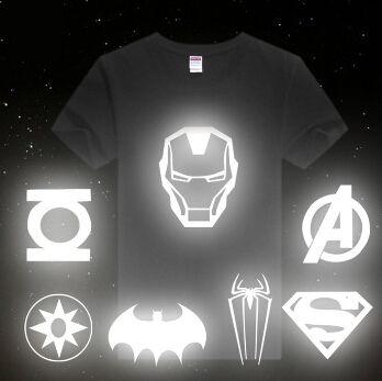 2015 Avengers T Shirt Luminous Light Reflective Spiderman Batman Ironman Superman America Captain Green L Green Lantern T Shirt T Shirt Picture Avengers Tshirt