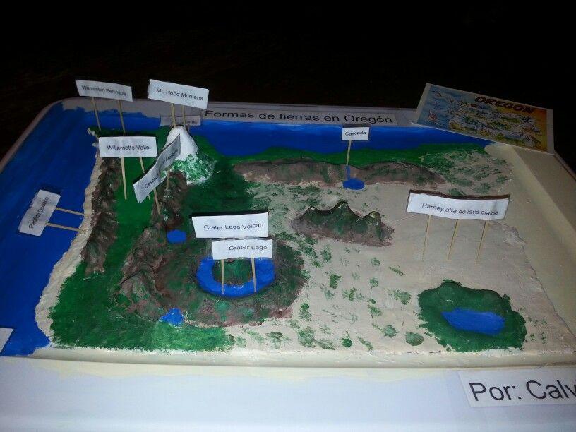 3D salt dough map of Oregon 2nd grade school project Topographical