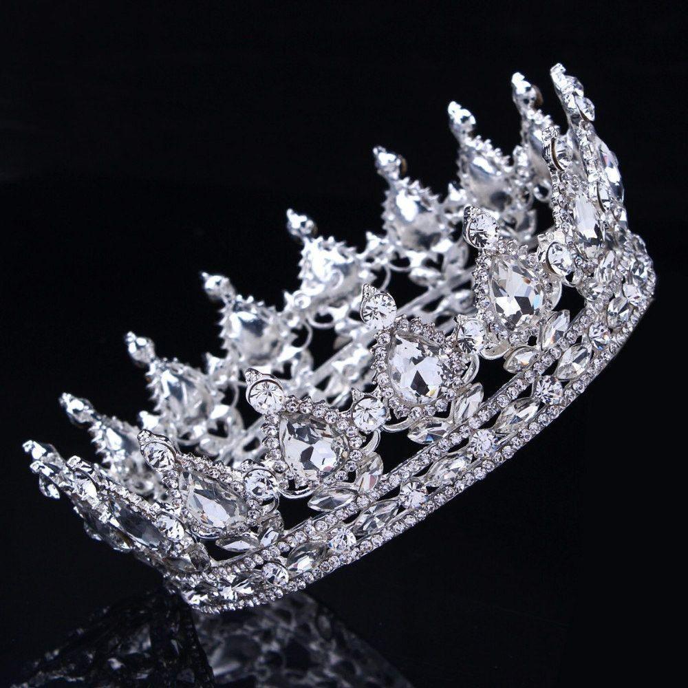 Bling Bridal Peacock Crystal Tiara Wedding Crown, Bridal Rhinestone Pageant Crown