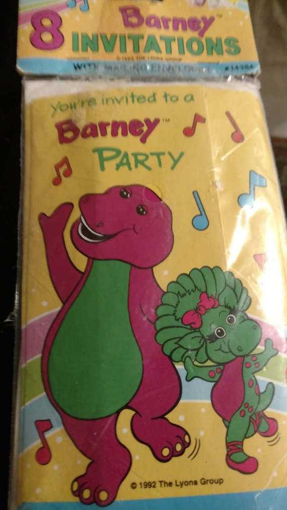 Vintage Barney The Dinosaur Party Invitations. New in package. 8 ...