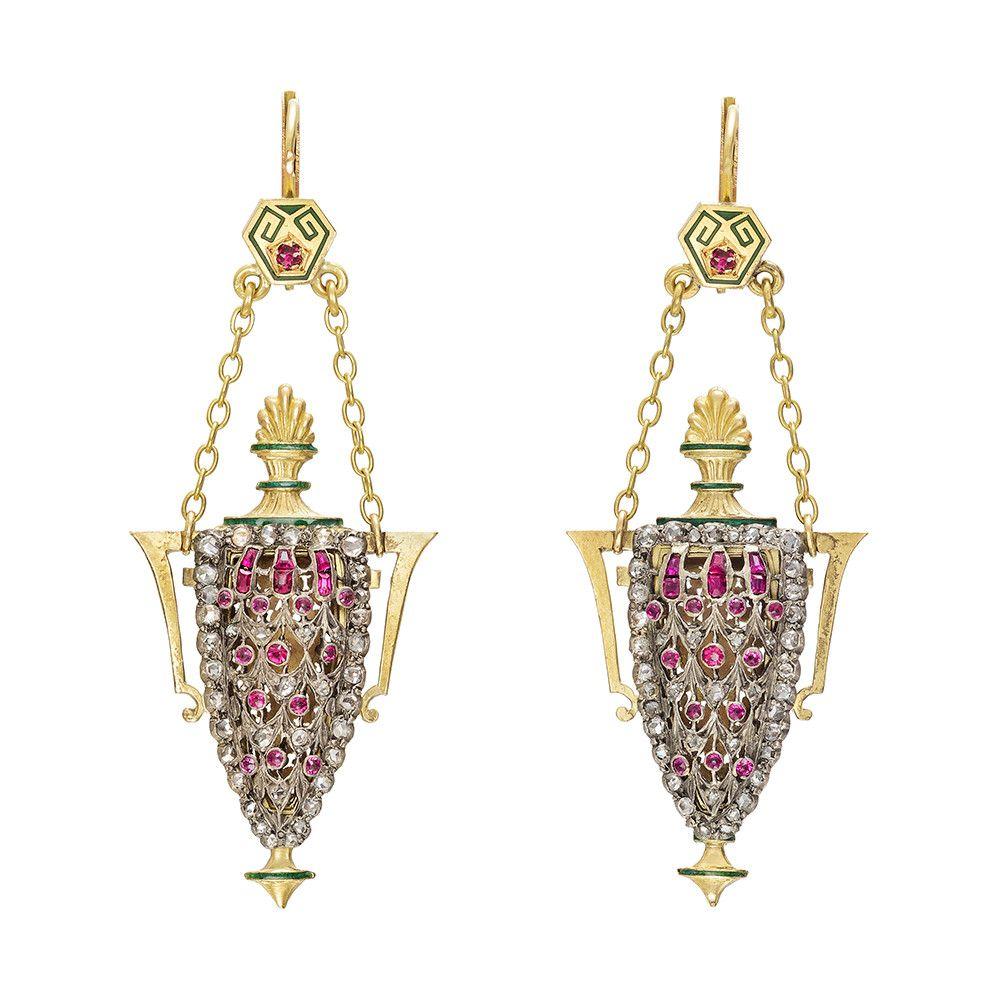 Gemset amphora pendant earrings betteridge georgian u victorian