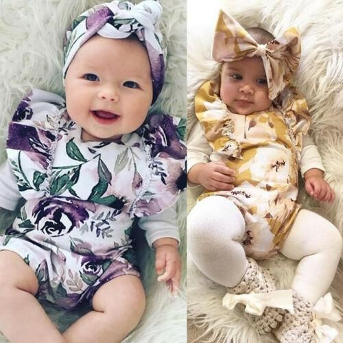 Infant Newborn Baby Girls Watercolour Romper Cotton Romper Sleeveless Floral Outfits Jumpsuit Sunsuit 0-24M