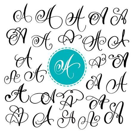 Photo of Set of Hand drawn vector calligraphy letter A. Script font. Isolated
