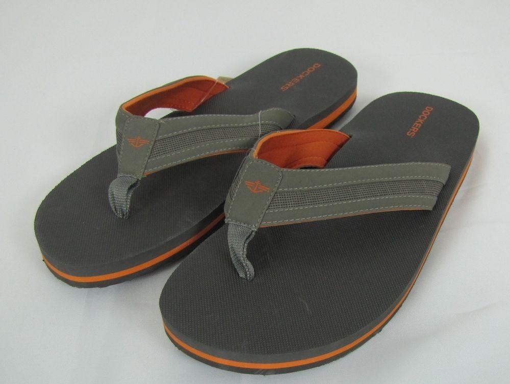 42191f44341b Dockers Flip Flops Grey Orange Men s Size L(9.5-10.5) NEW  Dockers   FlipFlops 9.99