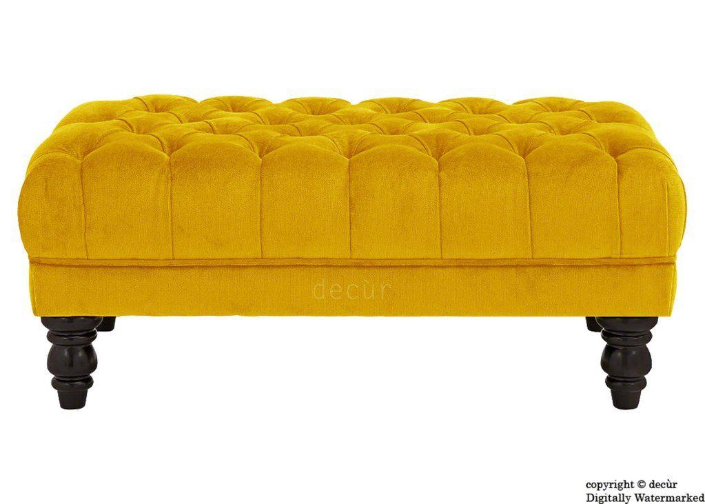 Sienna Buttoned Velvet Footstool Gold