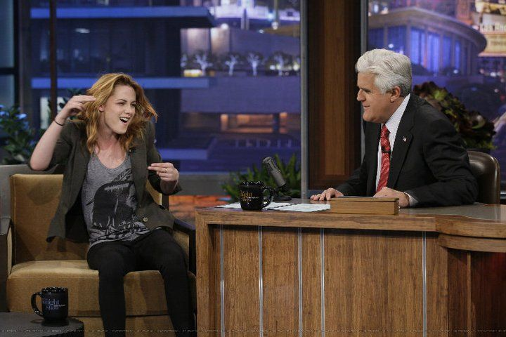 Kristen Stewart on Jay Leno wearing our Geronimo tank top.  Available now: http://makebelieveclothing.com/collections/shop/products/geronimo-tank-top