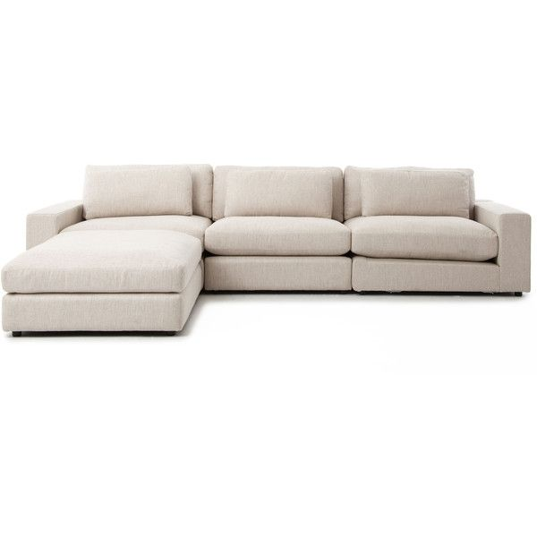 Cornerstone Modern Classic Beige Linen Sectional Sofa 131x92 ($3,473) ❤ liked on Polyvore featuring home, furniture, sofas, low sofa, modern contemporary sofa, cream couch, linen sectional and linen couch