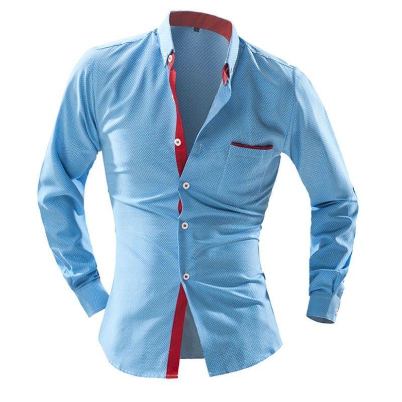 45e7cf3fef4df Camisa Slim Fit Casual Moderna Masculina Manga Longa cor Azul e Vermelho