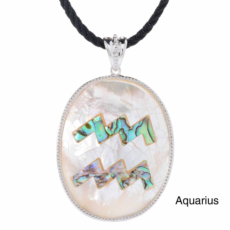 Sterling silver oval abalone shell fancy zodiac pendant zodiac