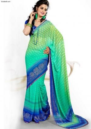 Sarees:R35P770 | Green & Blue Printed Saree