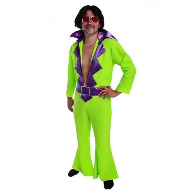 Hippie Overall L 70er 80er Jahre Schlagerkostüm neon grün
