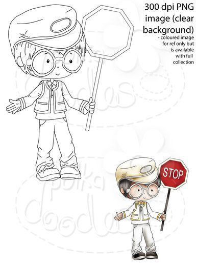 Lollipop Man School Crossing Patrol Security Guard Digital Stamp